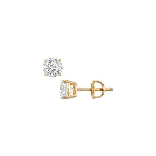 Fine Jewelry Vault UBER14YG4RD175DSI 14K Yellow Gold- Round Diamond Stud Earrings - 1. 75 CT.  TW.