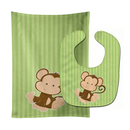 - Monkey on Stripes Baby Bib & Burp Cloth