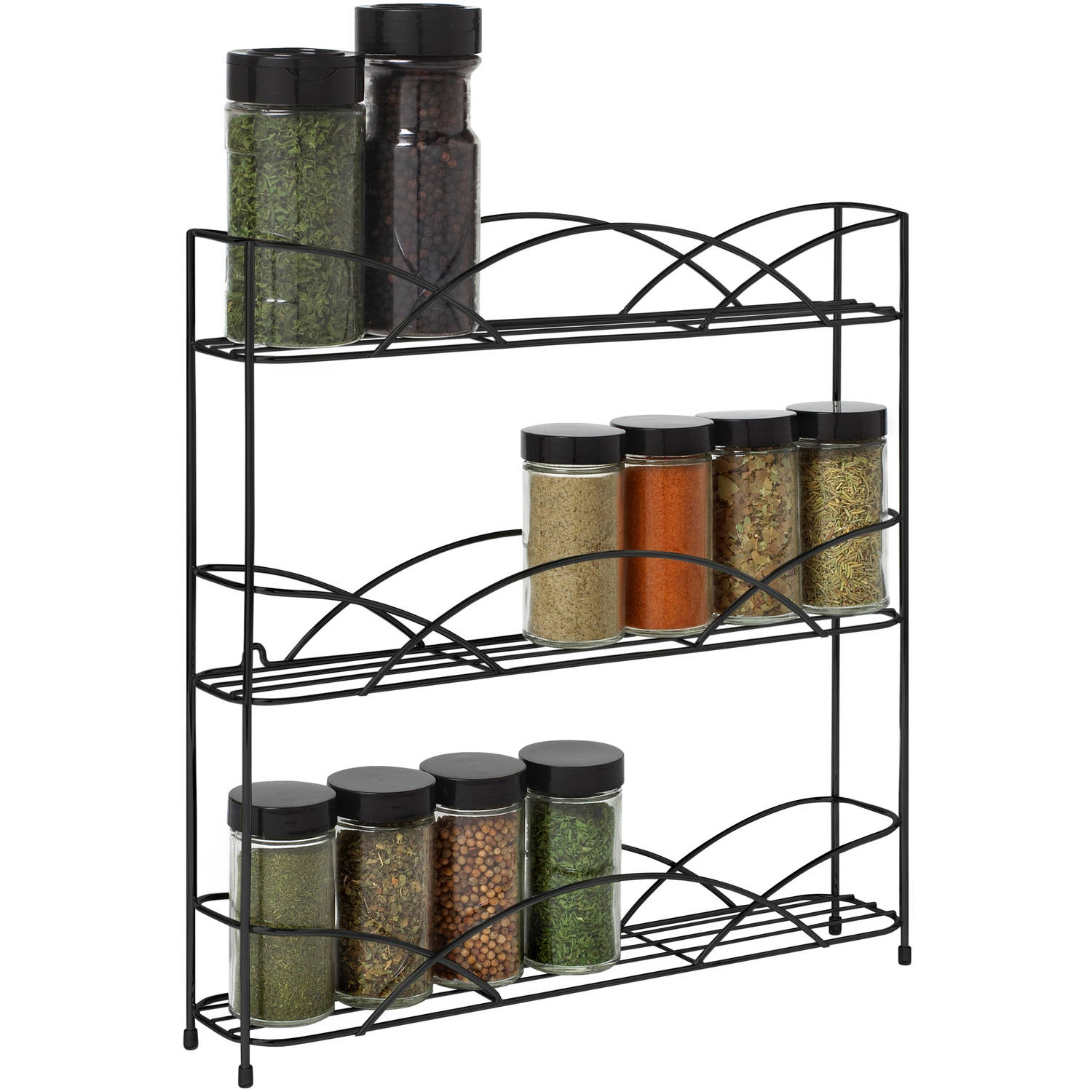 Spectrum Diversified Designs Countertop 3-Tier Spice Rack, Black