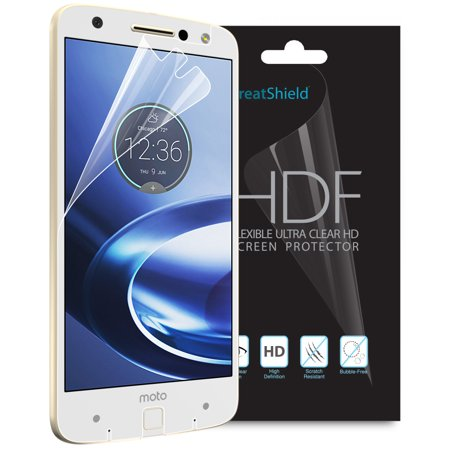Moto Z Force Screen Protector, GreatShield [Ultra Clear HD][Full Coverage]  HDF Anti-Bubble Silicone Layer [TPU Film | 4H Technology] Shield for