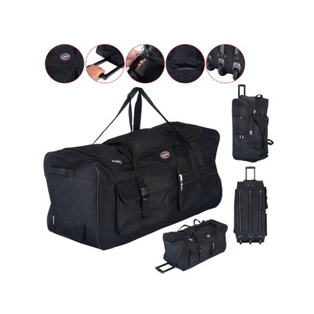 Costway - Costway 36   Rolling Wheeled Tote Duffle Bag Luggage Travel  Duffle Suitcase Black - Walmart.com a539a7d60bf6f
