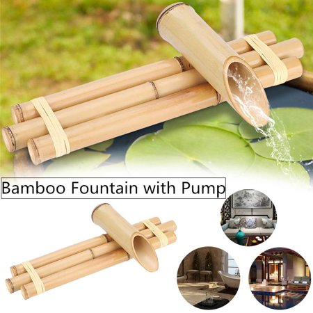 WALFRONT Bamboo Fountain Three Arm Style Indoor Outdoor Fountain with Pump (US Plug 110V)
