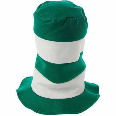 Striped Stove Pipe Hat, Pack of 6, Green and White