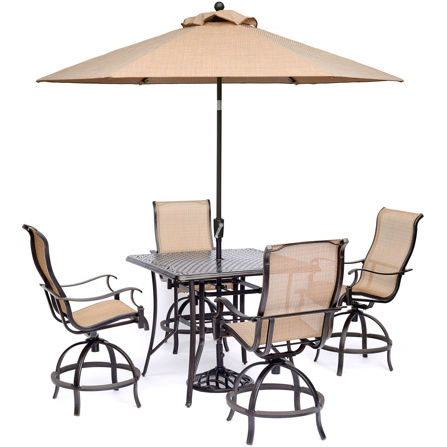 Hanover Manor 5 Piece Outdoor High Dining Set In Cedar With 4 Contoured  Swivel