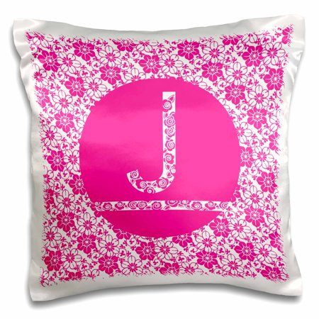 3dRose Hoy Pink Girly Floral Monogram Letter J - Pillow Case, 16 by (Floral Monogram)