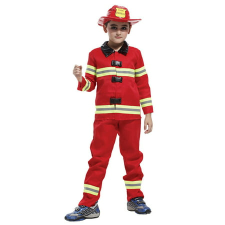 Kids' Fireman Dress-Up Play Costume Set with Uniform & Accessories, M - Childrens Fireman Outfit