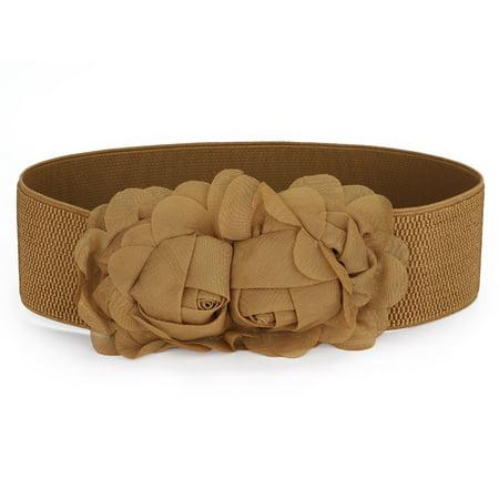 Chiffon Dual Flowers Press Stud Button Stretchy Waist Belt Brown for (Belted Chiffon Belt)