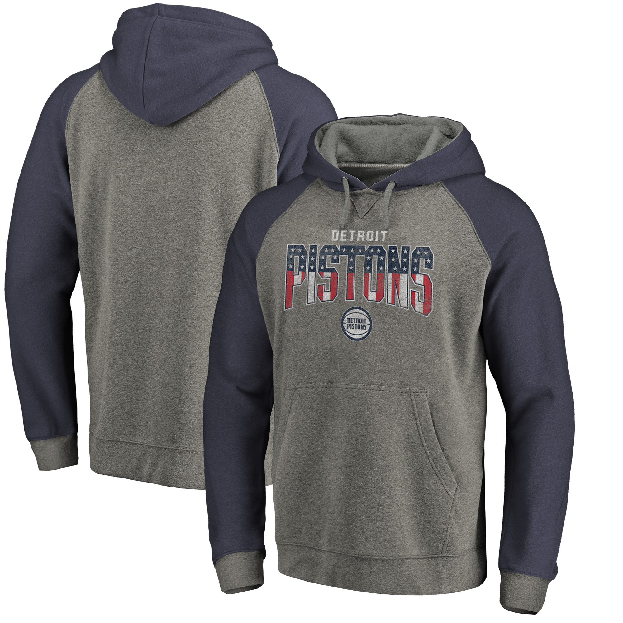 Detroit Pistons Fanatics Branded Freedom Tri-Blend Pullover Hoodie - Heathered Gray