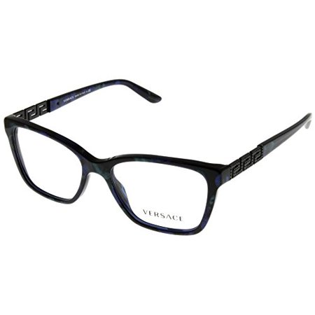 Versace Women Eyeglasses Designer Marbled Black/Green/Blue Rectangular VE3192... Size: Lens/ Bridge/ Temple: (Versace Designer Eyeglasses)