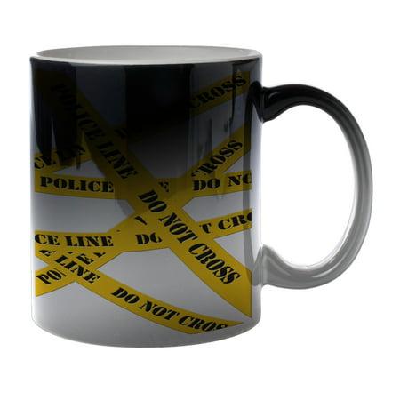 KuzmarK Black Heat Morph Color Changing Coffee Cup Mug 11 Ounce - Do Not Cross Police Line