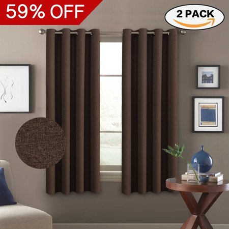63 Inchl Drapes - Faux Linen Brown Pair Curtains Thermal Insulated Room Darkening Window Panels Heavy Duty Textured Burlap Effect Grommet Drapes for Bedroom, 63-Inch Length