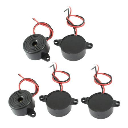 Unique Bargains 5 Pcs DC 3-24V 85dB 2 Cable Continuous Electronic Alarm Buzzer Black
