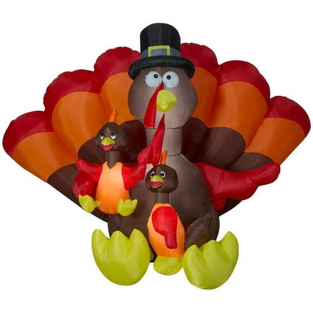 Gemmy Halloween Inflatable 8 5 Ft Turkey Family Scene Decoration Self Inflates Deflates Internal Lights 74308 Walmart Com Walmart Com