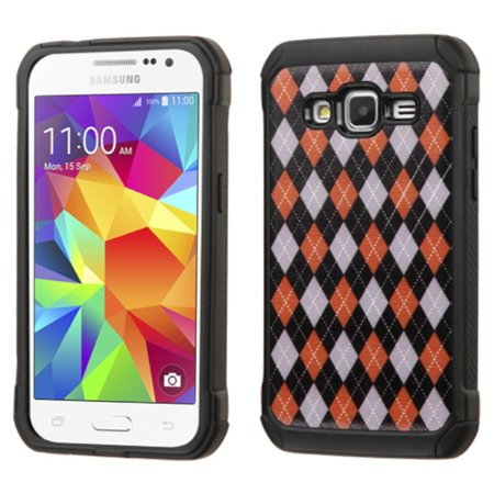 Insten Argyle Hard Dual Layer Rubber Coated Silicone Cover Case For Samsung Galaxy Core Prime - Red/Black - image 4 of 4
