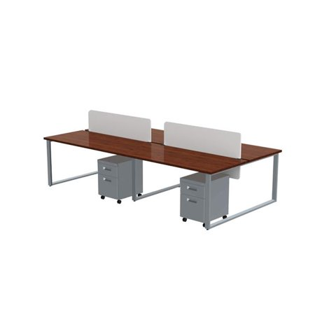 Privacy Finish - Marvel Aire ARTY004WYTT Benching for Four 60 x 30 in. Desks with 4 Mobile Pedestals & 2 Acrylic Privacy Screens, Windsor Mahogany Laminate & Silver Finish