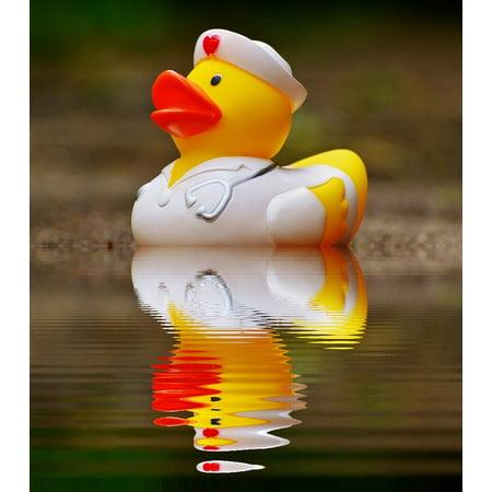 LAMINATED POSTER Mirroring Bath Duck Rubber Duck Nurse Water Poster Print 24 x
