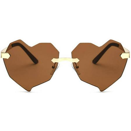 OWL Eyewear Heart Shaped Sunglasses 8134 Women's Metal Gold Frame Brown (Heart Shaped Sunglasses Metal Frame)