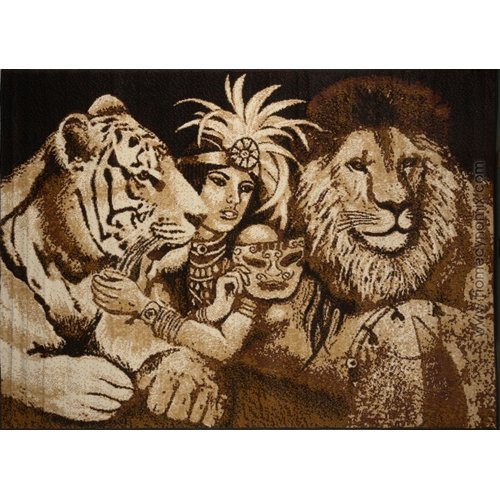 Home Dynamix Zone Indian Tiger And Lion Novelty Brown Area