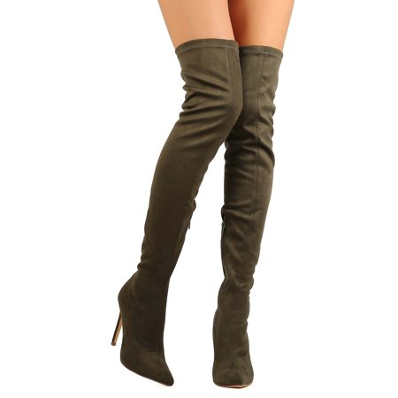 5b2e8de8361 Liliana - New Women Liliana Gisele-7 Suede Pointy Toe Thigh High Single  Sole Stiletto Boot - Walmart.com