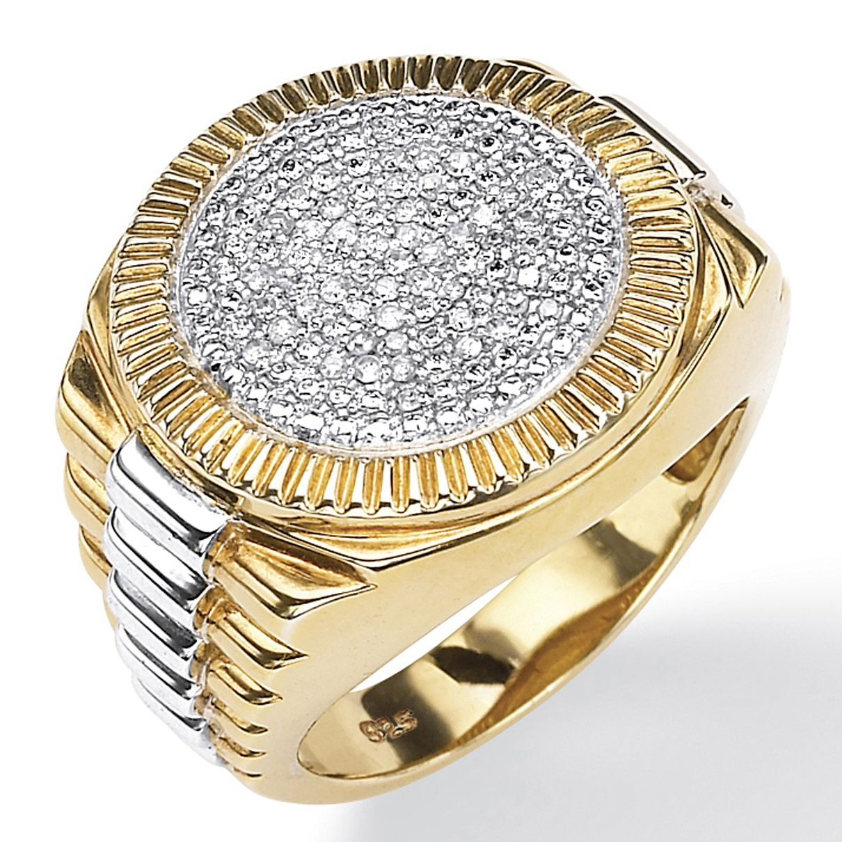 Men's 1/7 TCW Round Pave Diamond Two-Tone Ribbed Ring in 18k Gold over Sterling Silver