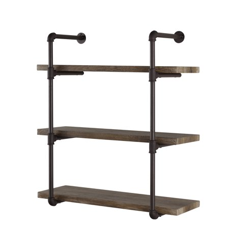 3 Shelf Wall - Danya B. Three Tier Industrial Pipe Wall Shelf