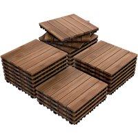 """27pcs Patio Pavers Wood Flooring Tiles,Interlocking Wood Tiles Indoor & Outdoor,12 x 12"""""""