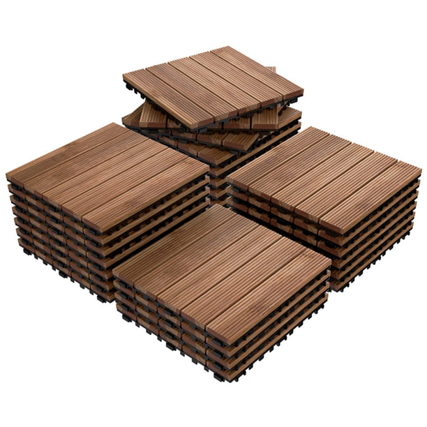 27pcs Patio Pavers Wood Flooring Tiles,Interlocking Wood Tiles Indoor & Outdoor,12 x 12""