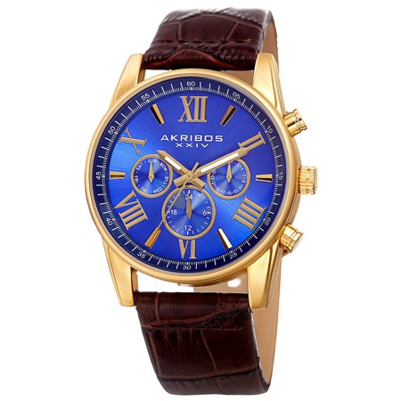 Men's Swiss Quartz Multifunction Dual-Zone Blue Leather Strap -
