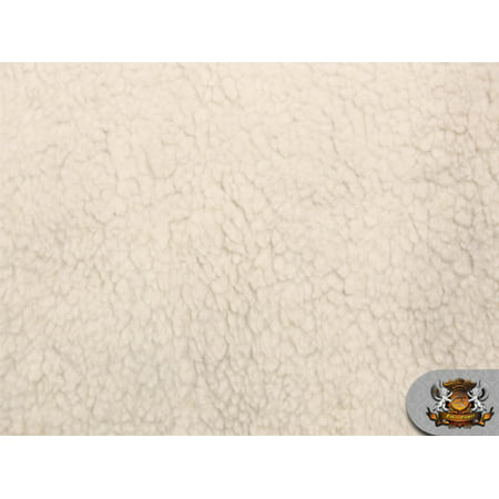 """Heavy Duty SHERPA SHEEP SKIN Ivory Faux fur fabric / 60"""" WIDE / Sold by the yard"""