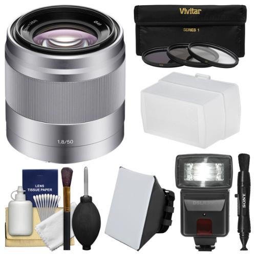 Sony Alpha E-Mount 50mm f/1.8 OSS Lens (Black) with Flash + Soft Box + Diffuser + 3 Filters Kit for A7, A7R, A7S Mark II, A5100, A6000, A6300 Cameras