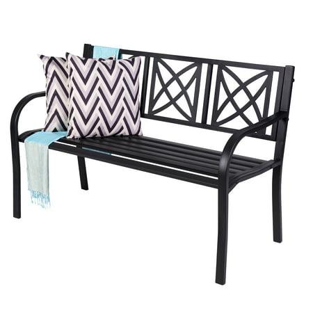 Magnificent Paracelsus 4 Foot Metal Garden Bench In Black Evergreenethics Interior Chair Design Evergreenethicsorg