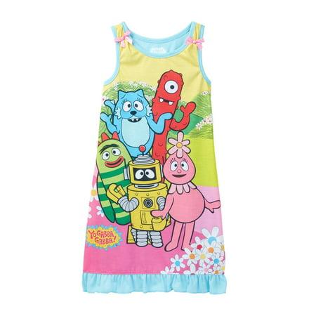 yo gabba gabba toddlers girls tank dress nightgown floral size 2t
