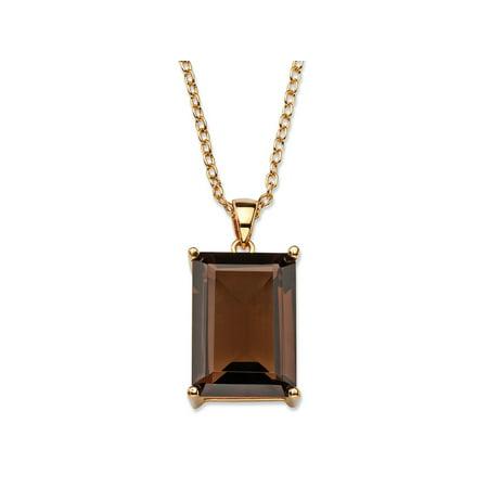 Topaz Genuine Necklace (24 TCW Emerald-Cut Genuine Smoky Topaz 14k Gold-Plated Pendant Necklace 16