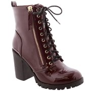 Womens Chunky Heel Platform Lug Sole Lace Up Ankle Combat Bootie (FREE SHIPPING)
