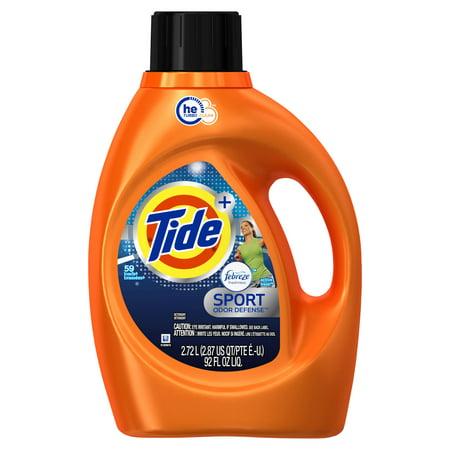 Tide Plus Febreze Sport Odor Defense He Turbo Clean Liquid Laundry Detergent  Active Fresh Scent  59 Loads  92 Oz
