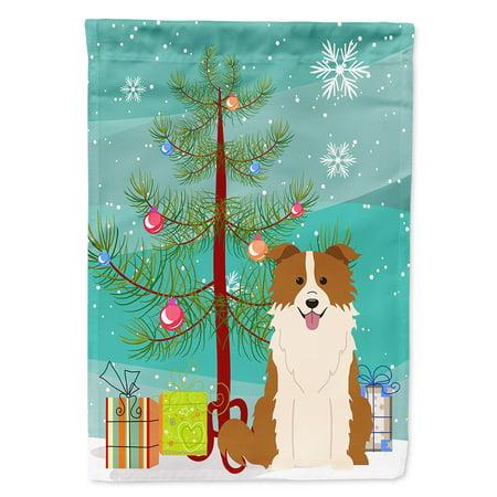 Border Collie Flag - Merry Christmas Tree Border Collie Red White Garden Flag