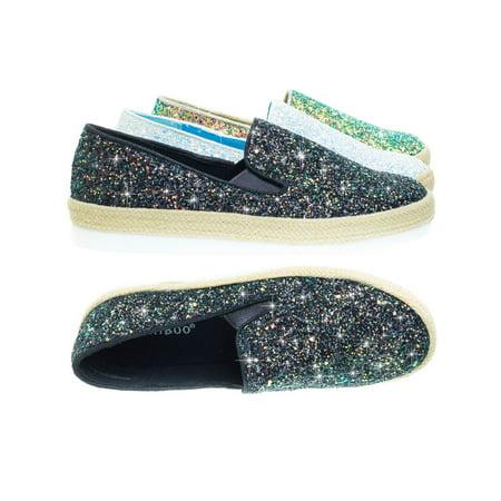 Marisa01 by Bamboo, Glitter Slip On Sneaker w Espadrille Platform