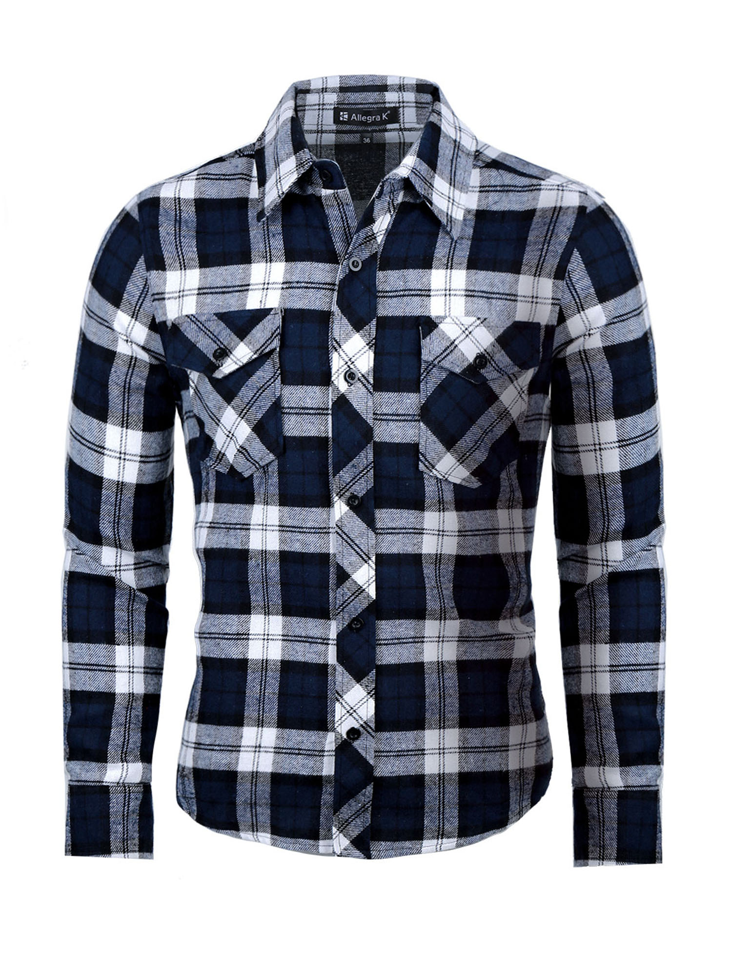 uxcell Men Plaid Point Collar Chest Pockets Short Sleeves Button up Checkered Shirt