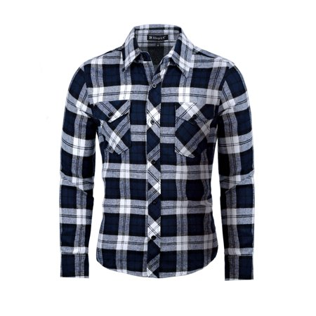 Unique Bargains Men's Button Up Plaid Flannel Shirt Plaid Wool Blend Flannel