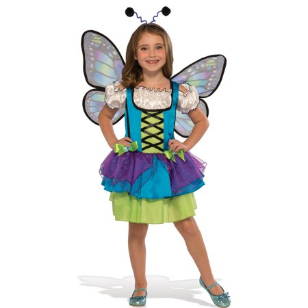 Girls Glittery Blue Butterfly Halloween Costume
