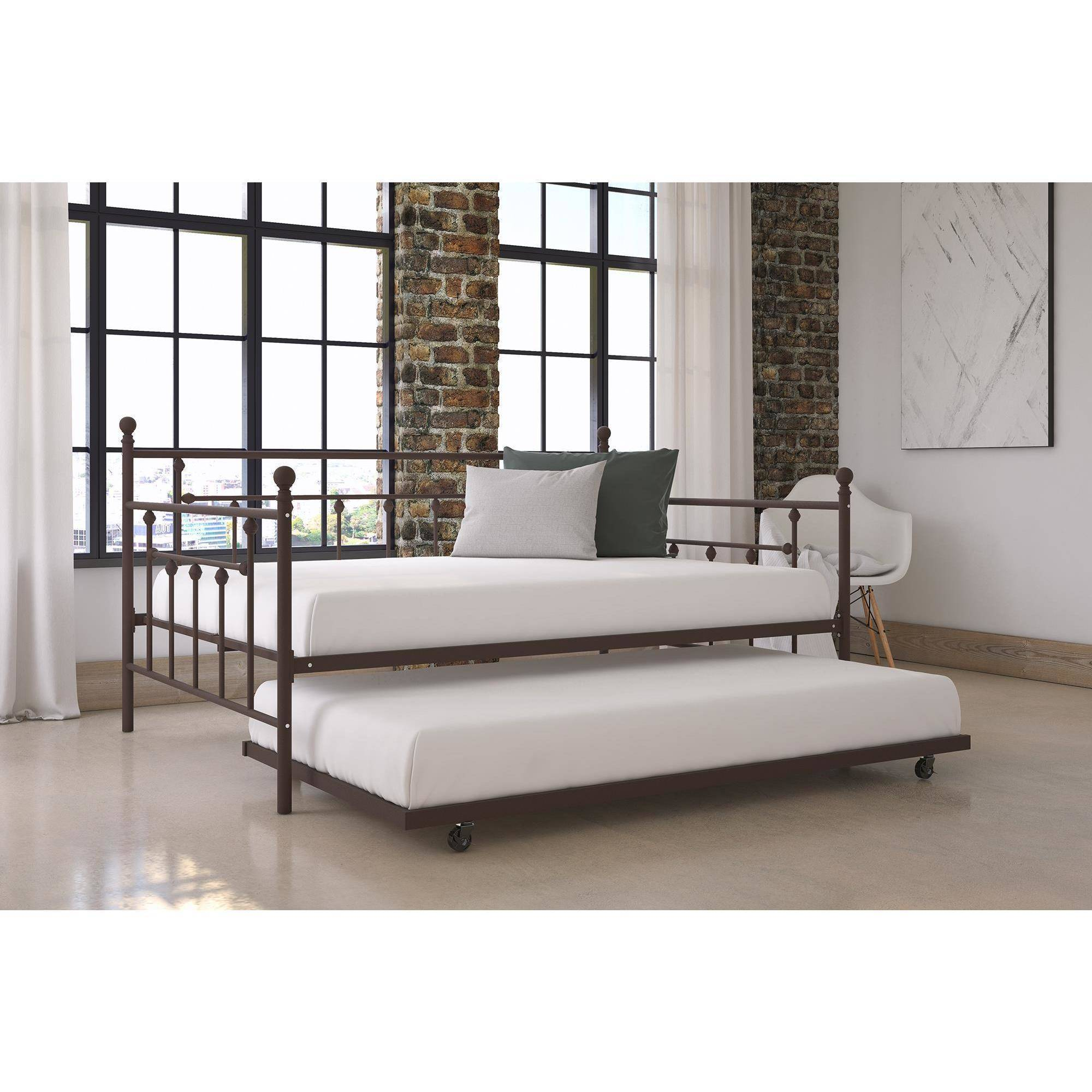 dorel home manila full size metal daybed and twin size trundle bronze