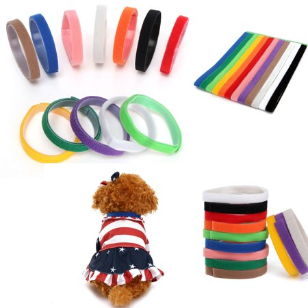 12 Colors Adjustable Pet Puppy Kitten Newborn ID Collars Litter Bands US ()