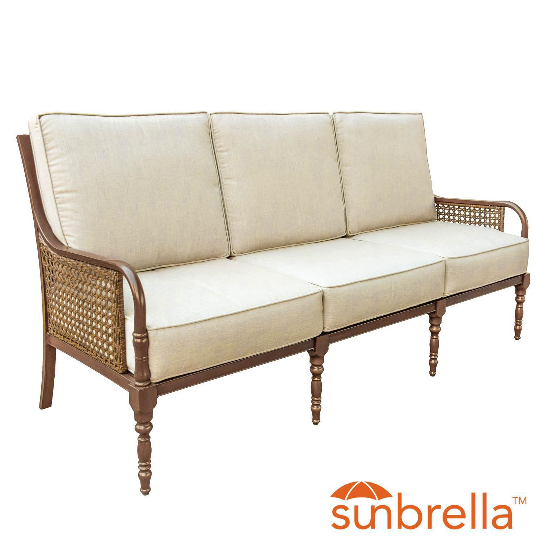 Arabella Aluminum Patio Sofa W/ Sunbrella Cast Ash Cushions By Lakeview Outdoor Designs