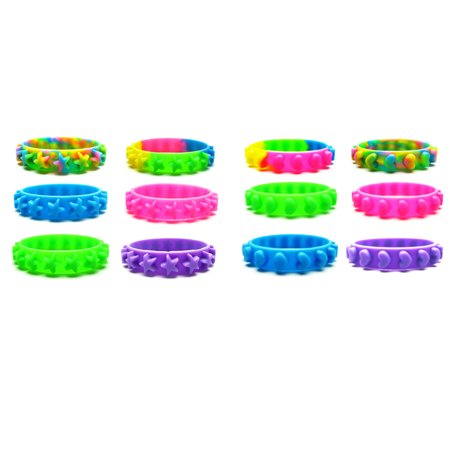 Frogsac Set of 12 Stars & Hearts Silicone Bangle Bracelets-Great Party Favors