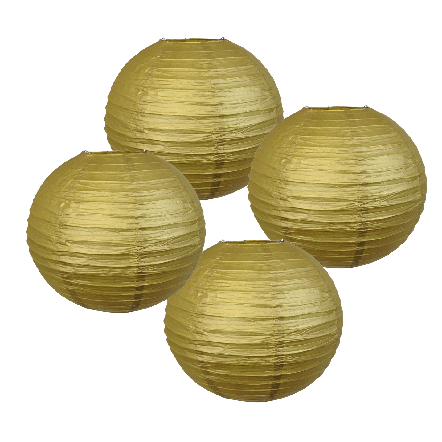 """14"""" Gold Chinese Japanese Paper Lanterns (Set of 4) - Decorative Round Chinese/Japanese Paper Lanterns for Birthday Parties, Weddings, Baby Showers, and Life Celebrations!"""