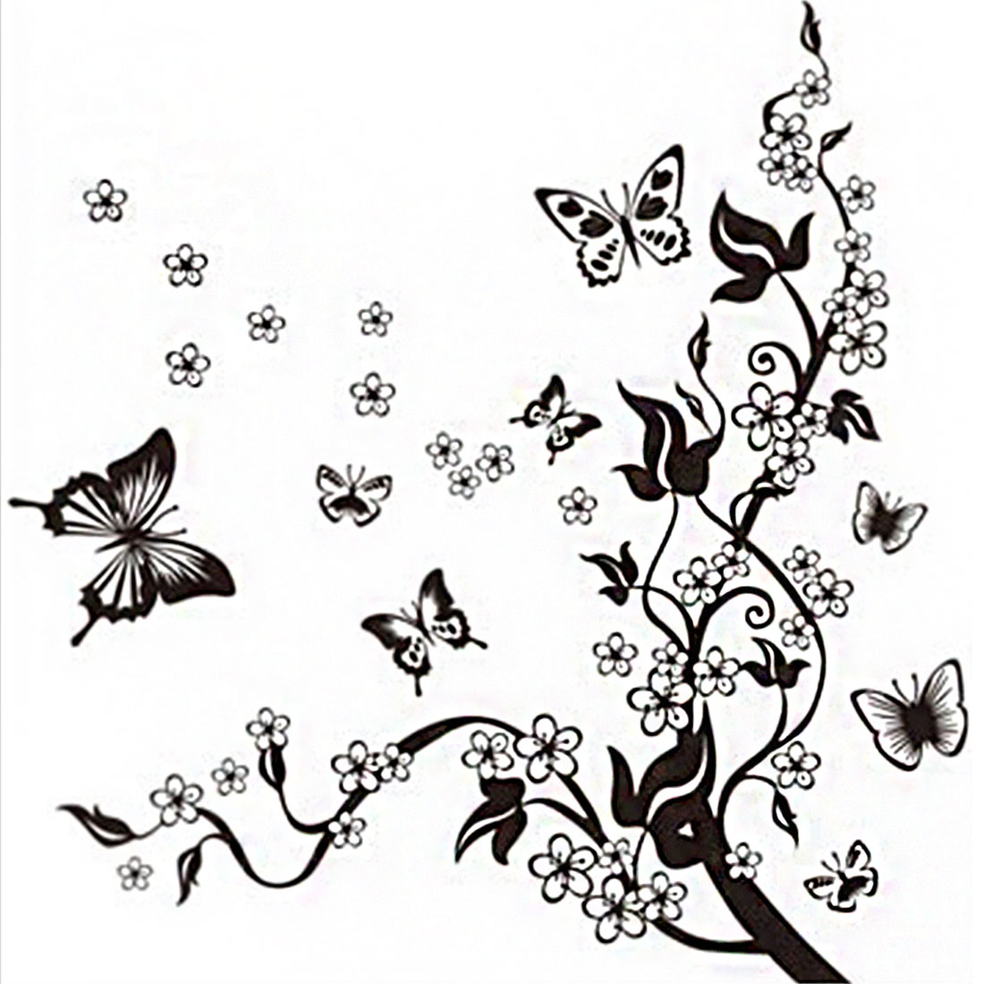 TV Background Tree Vine Flying Butterfly Print Wall Sticker Room Decor Black