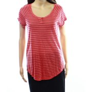 Caslon NEW Red Striped Women's Size Small S Raglan Henley Knit Top $39