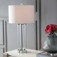 "Harper 29"" Glass LED Table Lamp, Clear/Chrome"