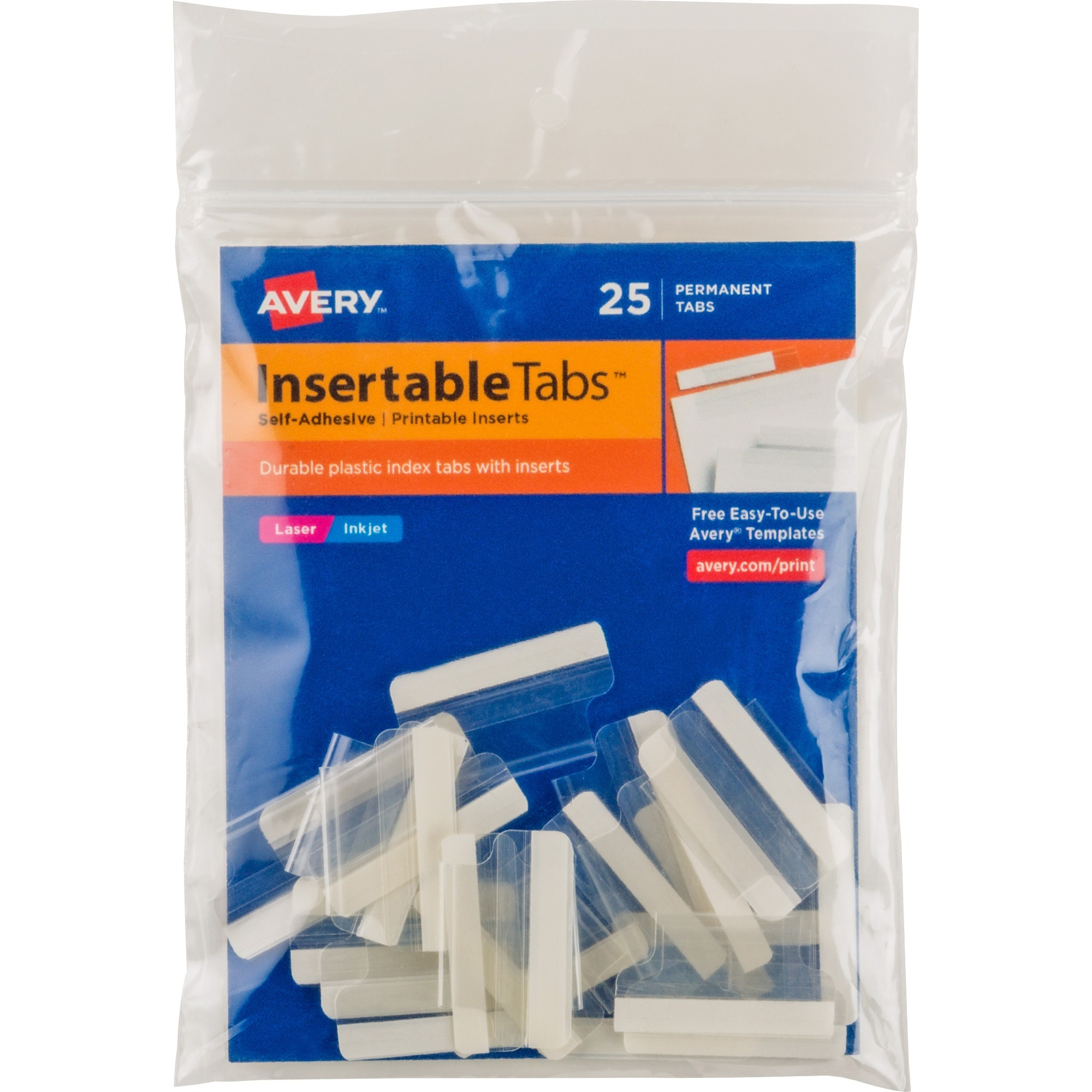 Avery Insertable Index Tabs with Printable Inserts, One, Clear Tab, 25/Pack