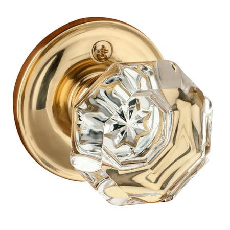 Dynasty Hardware Classic Rosette, Crystal Style Door Knob, Individual Dummy Door Knob, Polished Brass Polished Brass Dummy Door